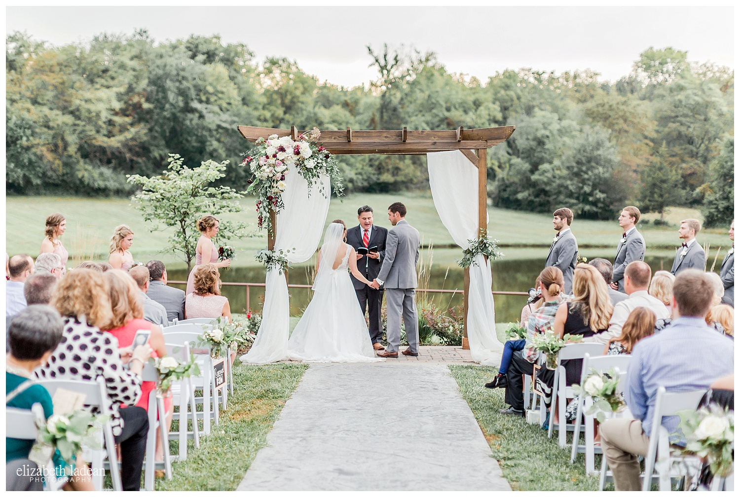 bride and groom getting married at Faulkner's Ranch in Kansas City