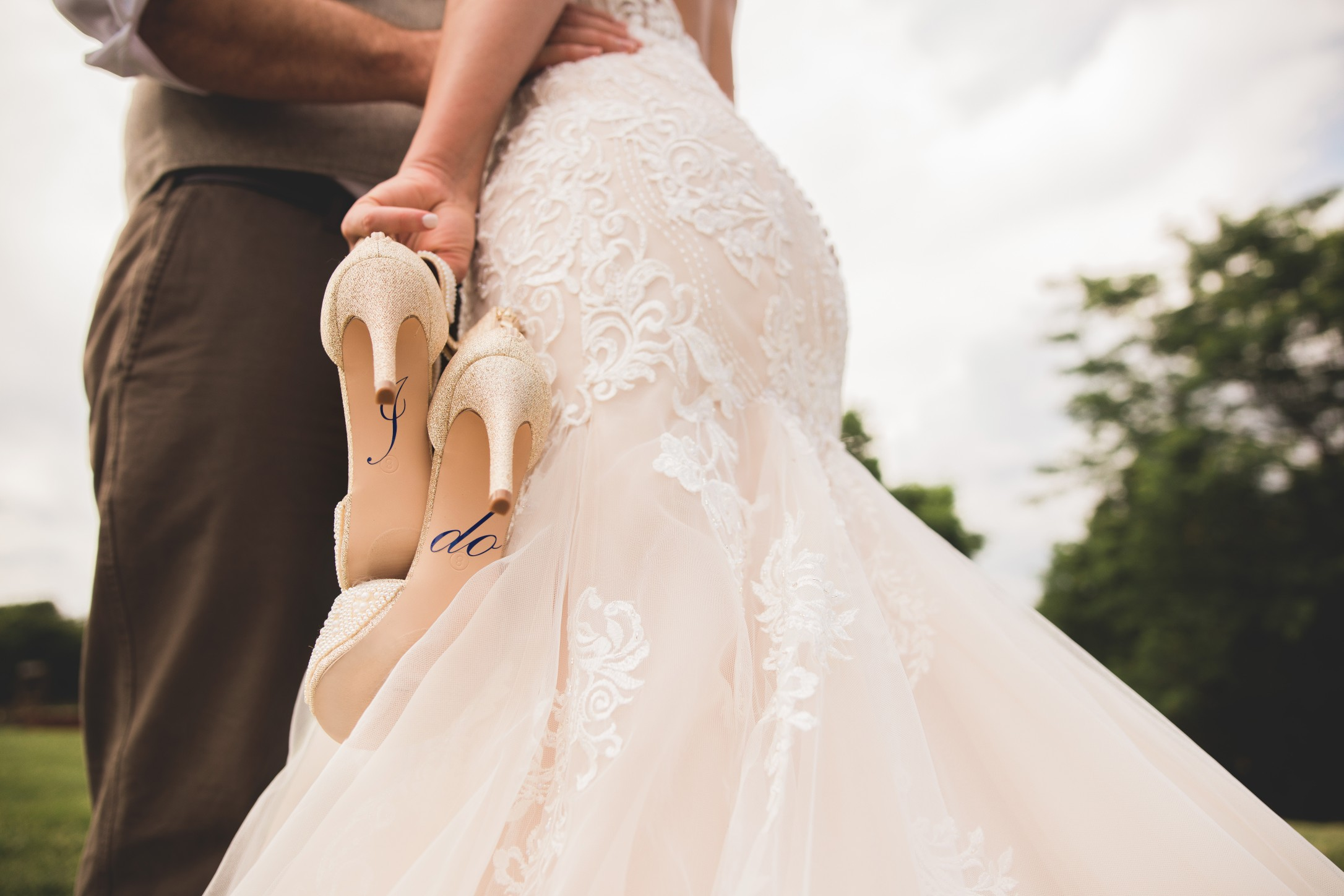 "wedding shoes saying ""I Do"""