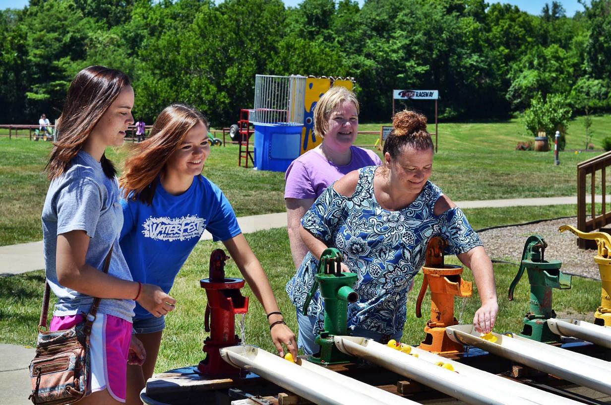 water pump game at Faulkner's Ranch