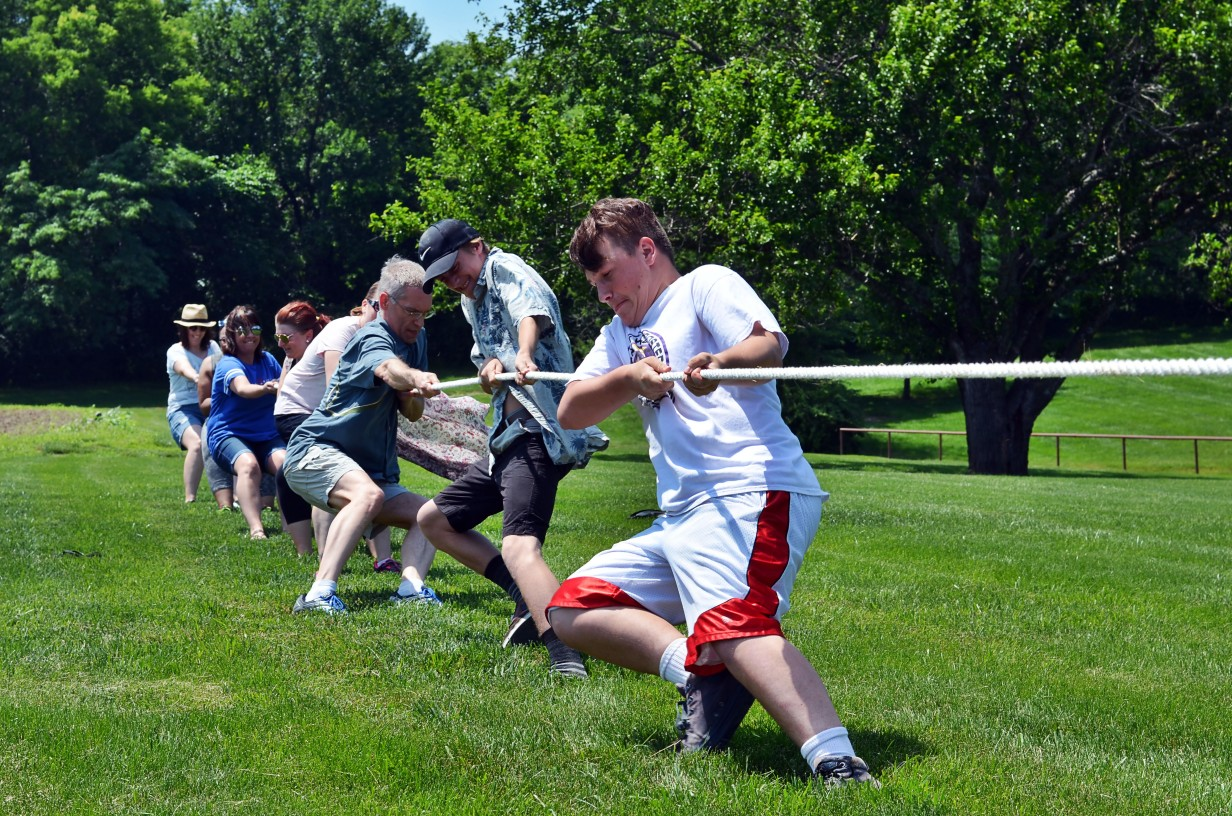 tug of war battle at company picnic at Faulkner's Ranch
