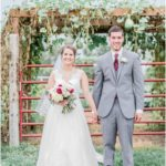 Just Married! Bride and groom at outdoor wedding at Faulker's Ranch