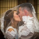 bride and groom kissing at Faulkner's Ranch Wedding