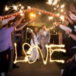 Bride and Groom sparklers at wedding in KC