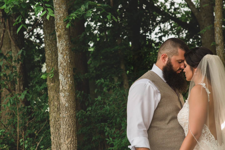 bride and groom at outdoor wedding