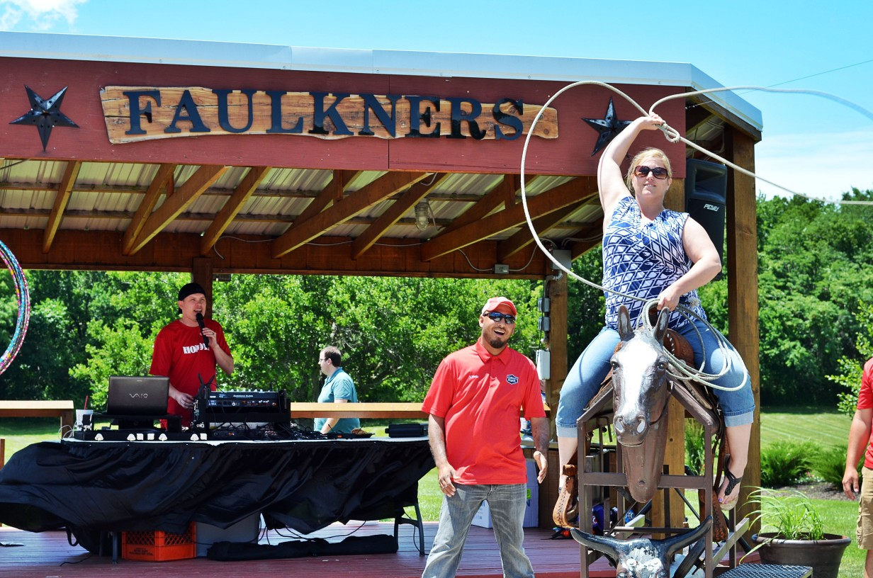 learn to rope at a Faulkner's Ranch company outing
