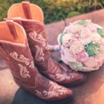 cowboy boots and bouquet for wedding at Faulkner's Ranch
